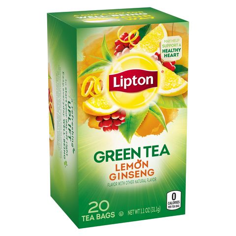 LEMON GINSENG GREEN TEA BAGS